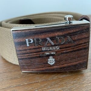 Prada Beige + Wood Belt